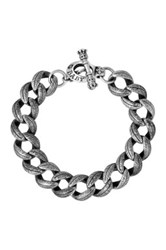 King Baby Studio Sterling Silver Small Feather Carved Link Bracelet Metallic