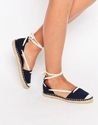 New Look Canvas Ankle Tie Espadrille Blue