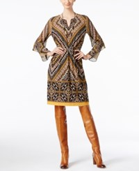Inc International Concepts Petite Printed Fit And Flare Dress Only At Macy's Polished Gold