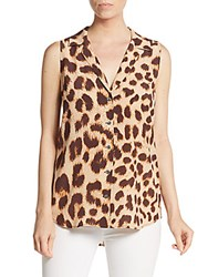 Equipment Adal Cheetah Print Silk Top Nude Multi