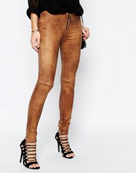 Supertrash Skinny Party Jeans In Cracked Leather Look Cognac Black