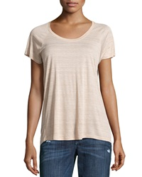 Vince Striped Raglan Scoop Neck Tee Tawny White