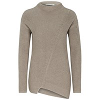Oui Asymmetric Ribbed Jumper Light Taupe
