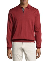 Neiman Marcus Wool Long Sleeve Polo Shirt Rio Red