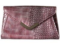 Jessica Mcclintock Lily Croco Small Envelope Clutch Wine Cross Body Handbags Burgundy