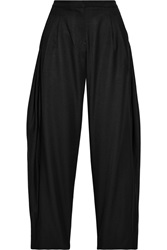 J.W.Anderson Pleated Silk And Wool Blend Wide Leg Pants Black