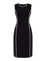 Episode Sleeveless Shift Dress With Contrast Piping Black