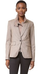Veronica Beard Cutaway Jacket With Elbow Patches Taupe Suede