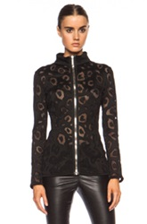 Anthony Vaccarello Embroidered Zip Poly Blend Top In Black Animal Print