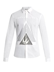 Mcq By Alexander Mcqueen Swallow Print Cotton Poplin Shirt White Multi