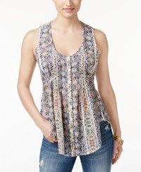 American Rag Printed Pintucked Sleeveless Top Only At Macy's Multi