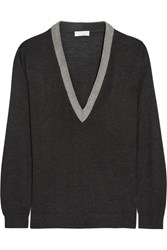 Brunello Cucinelli Beaded Cashmere And Silk Blend Sweater Dark Gray