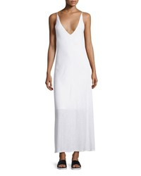 James Perse Deep V Neck Jersey Maxi Dress White