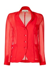 Paul Smith Red Sheer Blazer Blouse Gr. 36