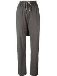 Rick Owens Drkshdw Drawstring Tapered Trousers Grey