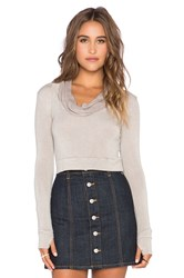Blue Life Cowl Neck Crop Top Taupe
