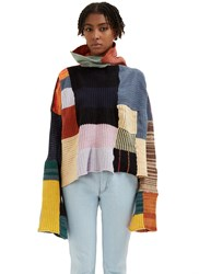 Eckhaus Latta Coverlet Oversized Patchwork Knit Sweater Black