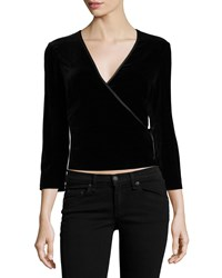 Phoebe Couture 3 4 Sleeve Velvet Crop Top Black