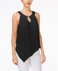 Amy Byer Bcx Juniors' Sleeveless Asymmetrical Hem Blouse Black
