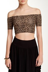 American Apparel Off Shoulder Cropped Tee Multi