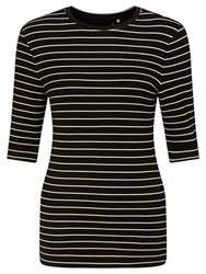 Supertrash Striped Double Jersey Top Black Off White