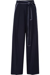 J.Crew Jitney Wool Blend Flannel Wide Leg Pants Midnight Blue