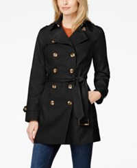 Jones New York Petite Water Resistant Trench Coat Black