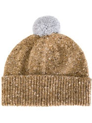 Paul Smith Pom Pom Speckled Beanie Nude And Neutrals
