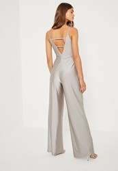 Missguided Silver Tall Exclusive Metallic Lattice Back Jumpsuit