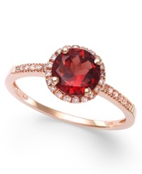 Macy's Garnet 1 3 8 Ct. T.W. And Diamond 1 8 Ct. T.W. Ring In 14K Rose Gold
