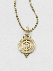 Temple St. Clair Royal Blue Moonstone And 18K Gold Dual Ring Pendant