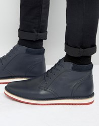 Asos Lace Up Boots In Navy Leather With Ripple Sole Navy