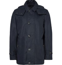Burberry Cotton Blend Gabardine Hooded Coat Midnight Blue