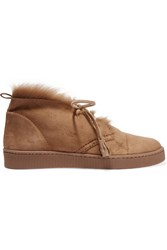 Pedro Garcia Parley Shearling Lined Suede Desert Boots Beige