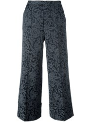 Twin Set Cropped Jacquard Trousers Grey