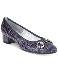 Marc Joseph New York Madison Croc Embossed Pumps Women's Shoes Navy