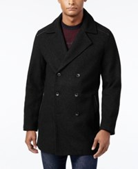 Alfani Men's Pea Coat With Faux Leather Trim Only At Macy's Deep Black