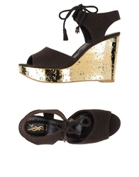 Yves Saint Laurent Rive Gauche Sandals Dark Brown