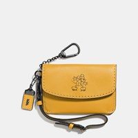 Coach Mickey Envelope Key Pouch In Glovetanned Leather Dark Gunmetal Flax