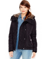 Levi's Faux Fur Hooded Quilted Jacket Black