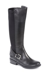 Me Too 'Dallas 50 50' Tall Moto Boot Women Black Leather Lycra Fabric