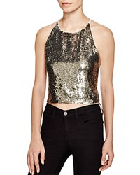 Alice Olivia Samira Sequin Halter Top 100 Bloomingdale's Exclusive Antique Silver