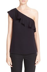 Women's Theory One Shoulder Ruffle Silk Blouse