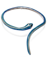 Town And Country Sterling Silver White Topaz 2 3 8 Ct. T.W. And Sapphire 1 Ct. T.W. Enamel Snake Necklace Blue