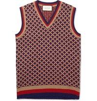Gucci Camel Wool And Silk Blend Jacquard Knit Gilet Orange
