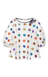 Dice Kayek Embroidered Polka Dot Balloon Sleeved Blouse Multi