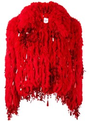 Ashish Short Fur Jacket Red