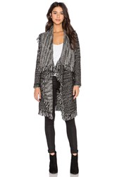 Vince Frayed Edge Drape Front Cardigan Black And White