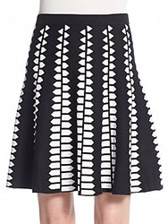 Saks Fifth Avenue Black Geometric Print Knit Skirt Black White