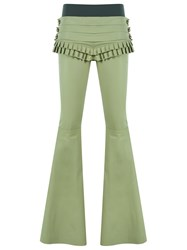 Andrea Bogosian Leather Flared Trousers Green